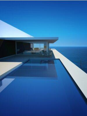 Carta da parati Modern Luxury Loft / appartamento con vista sull'oceano + Infinity Pool