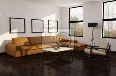 Moderno autunno interior soggiorno, alberi pavimento in legno carta ...