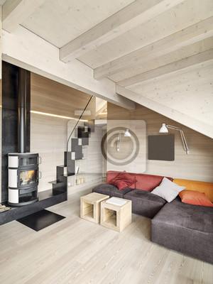 Carta da parati: Moderno salotto con camino e pavimento in legno