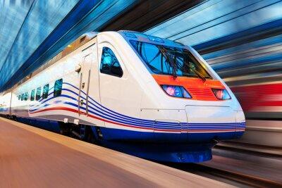 Carta da parati Moderno treno ad alta velocità con Motion Blur