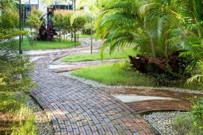Carta da parati Modo Giardino camminare fatta di mattoni di argilla nella piacevole luce del mattino