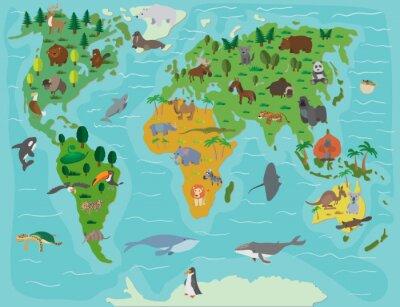 Carta da parati Mondo animale. mappa divertente cartone animato