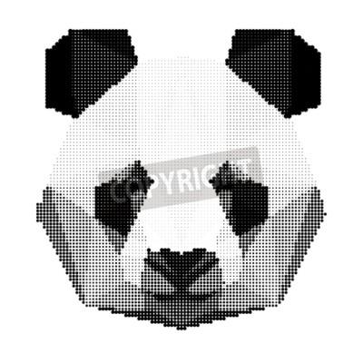 Carta da parati monocromatica astratta panda, orso ritratto isolato su sfondo bianco per l'uso in progettazione per la scheda, invito, poster, banner, cartello, la copertura cartellone