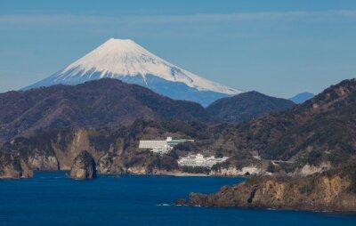 Carta da parati Montagna Fuji e mare dalla città di Izu Prefettura di Shizuoka, in Giappone.