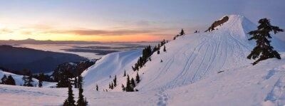 Carta da parati Monte Seymour prima pompa Peak alba invernale, Vancouve