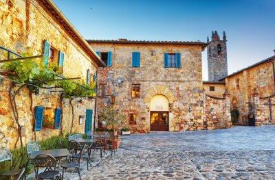 Carta da parati MONTERIGGIONI antica piazza storico della città, l'Italia.