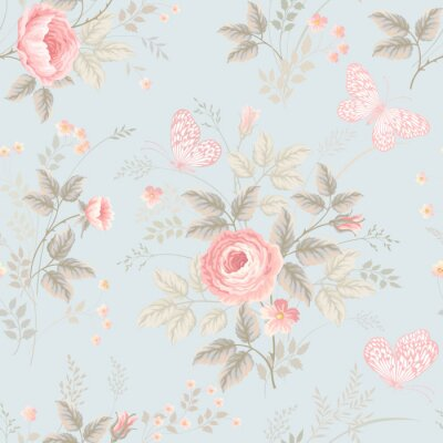 Carta da parati motivo floreale con rose e farfalle