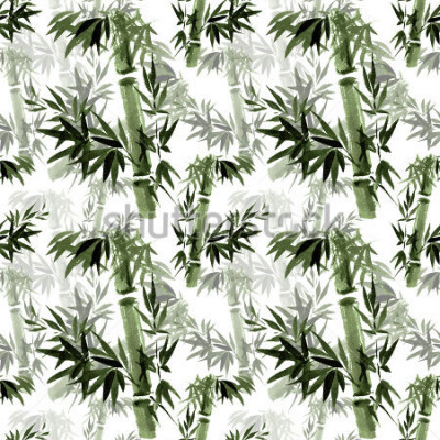 Carta da parati Motivo floreale senza soluzione di continuità. Il fruscio del bambù nel vento. Arte tradizionale orientale, acquerello, inchiostro, senza pennello.