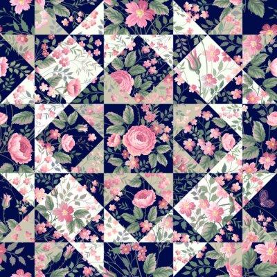 Carta da parati motivo patchwork senza soluzione di continuità con le rose