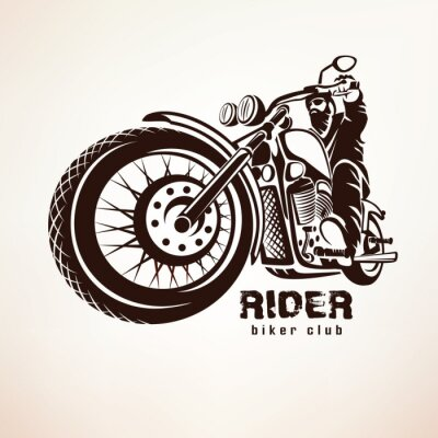 Carta da parati motociclista, moto grunge silhouette vettoriali