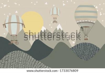 Carta da parati mountains and hot air balloons child room wallpaper