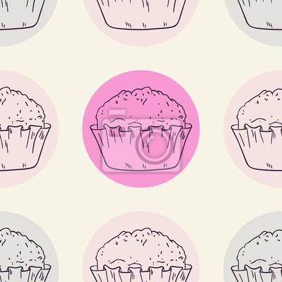 Carta Da Parati Muffin Stilizzato Seamless Con Cerchio