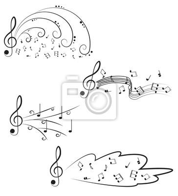 Music Chiave Di Violino E Note Per Il Vostro Disegno Su Un Bianco