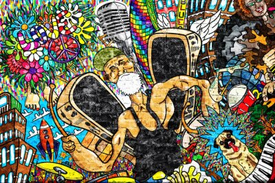 Carta da parati Musica collage su un grande muro di mattoni, graffiti