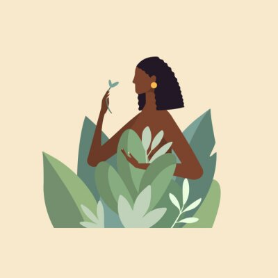 Carta da parati Naked beautiful young woman in big leaves with dark skin and hair. African American girl keep organic green plant. Concept of natural cosmetics for body care and beauty. Illustration in flat design
