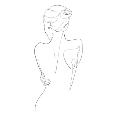 Carta da parati Naked woman standing back one line drawing on white isolated background. Vector illustration