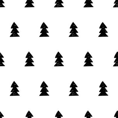 Carta da parati Natale di vettore modello con alberi di Natale. stile scandinavo.