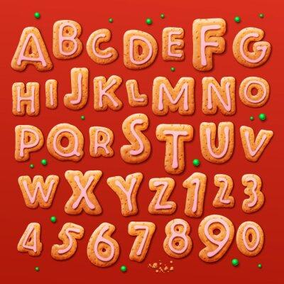 Carta da parati Natale gingerbread cookie alfabeto e numeri