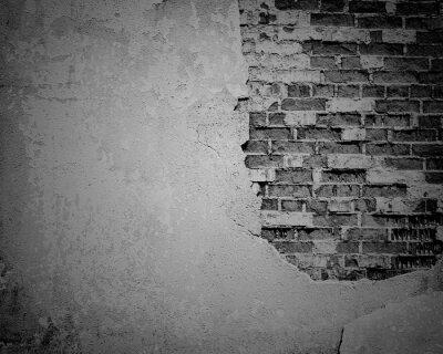Carta da parati Nero subito grunge, mattoni incrinato struttura della parete
