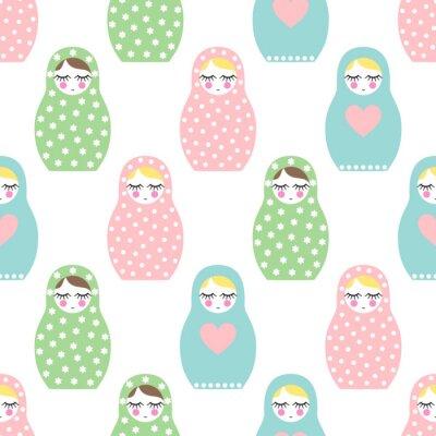 Carta da parati Nested doll seamless. Carino legno bambola russa - Matrioshka. Colori pastello nidificate bambola Matrioshka illustrazione su sfondo bianco.