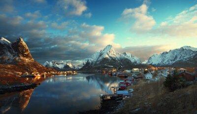 Carta da parati neve in Reine Village, Isole Lofoten, Norvegia