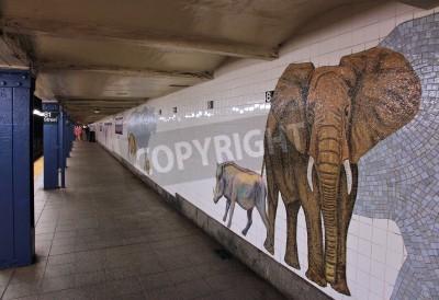 Carta da parati NEW YORK - 6 luglio: la gente aspetta al Museo della stazione della metropolitana di Storia Naturale il 6 luglio 2013 a New York. Con 1,67 miliardi di corse annuali, Metropolitana di New York è il 7 °