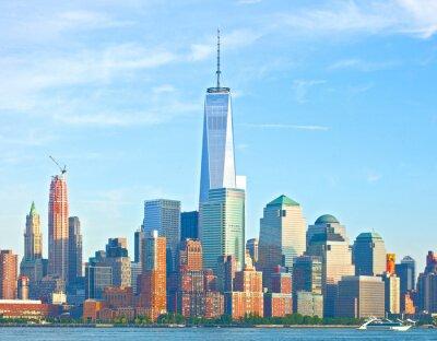 Carta da parati New York City edifici del distretto inferiore della strada muro finanziario Skyline di Manhattan su una bella giornata estiva con cielo blu