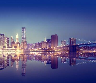Carta da parati New York City Lights Scenic Bridge View Concept