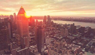 Carta da parati New York City skyline al tramonto