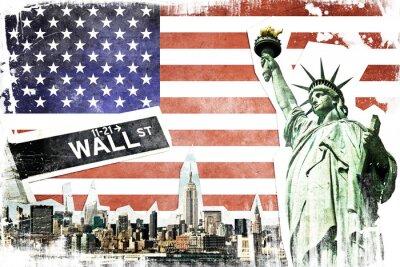 Carta da parati New York City vintage collage, US flag background