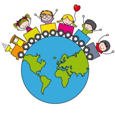 Carta da parati Niños en un tren  alrededor del mundo
