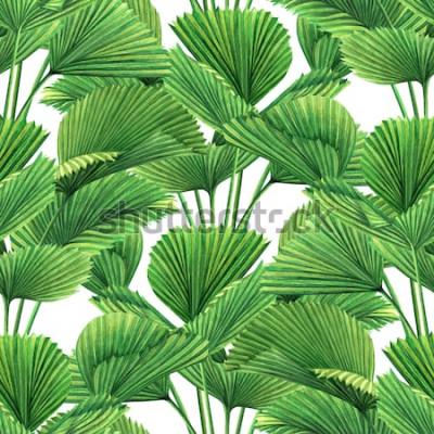 Carta da parati Noce di cocco della pittura dell'acquerello, foglia di palma, fondo senza cuciture del modello delle foglie verdi La foglia esotica tropicale dell'illustrazione disegnata a mano dell'acque