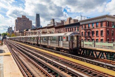 Carta da parati oberirdische metropolitana a Manhattan, New York