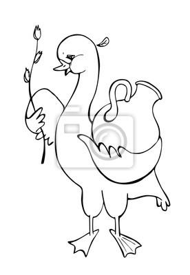Oca Con Tulipano E Brocca In Bianco E Nero Illustrazione Vettoriale