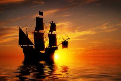 Carta da parati Old ancient pirate ship on peaceful ocean at sunset.