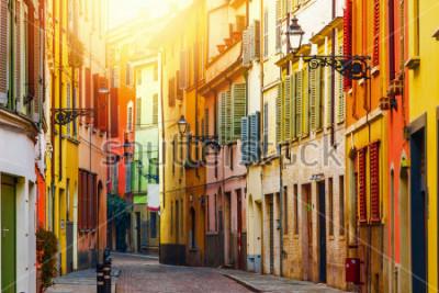 Carta da parati Old colorful street in Parma, Emilia-Romagna, Italy