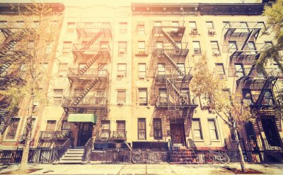 Carta da parati Old film retro style photo of New York street, USA.