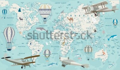 Carta da parati Old geography travel map with regional animals and aircrafts. Vector.