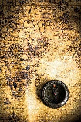Carta da parati old map with compass