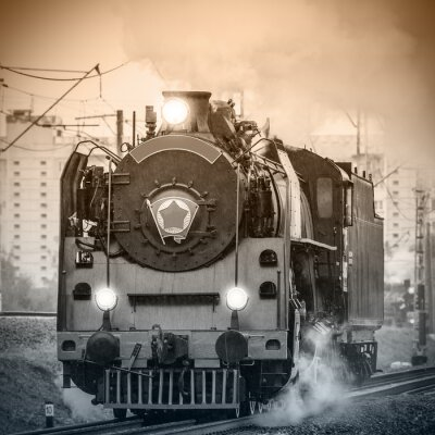 Carta da parati Old retro locomotiva a vapore russo.