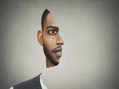 Carta da parati Optical illusion portrait front with cut out profile of man