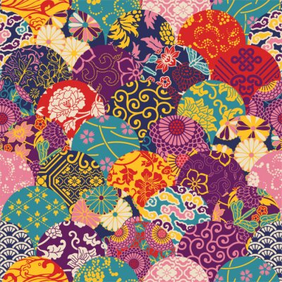 Carta da parati Orientale stile tessuto patchwork, vector seamless