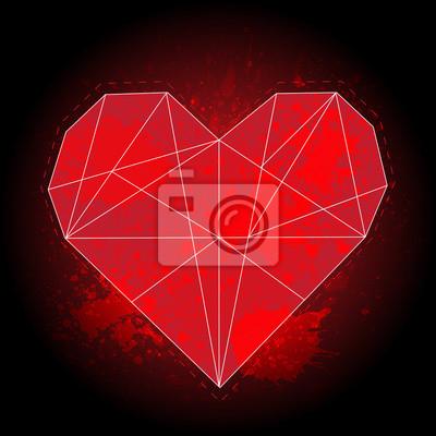 Origami Geometrica Cuore Rosso Su Sfondo Nero Con Schizzi Ad Carta
