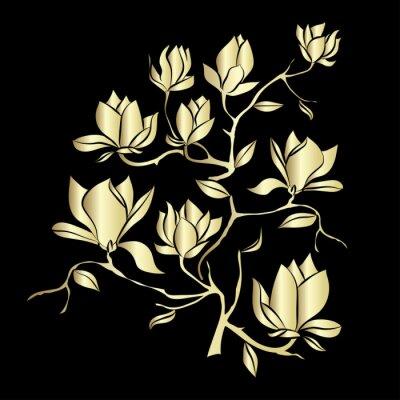 Carta da parati Oro Fioritura ramo di magnolia su sfondo nero illustrazione vettoriale