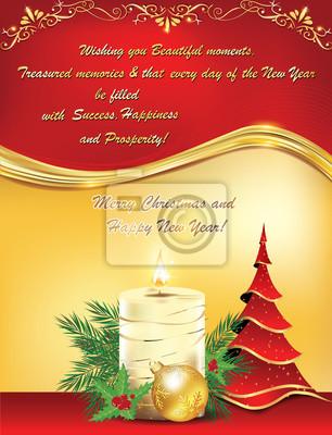 Immagini Natale E Capodanno.Carta Da Parati Oro Rosso Biglietto Di Auguri Di Natale E Capodanno Con La Candela