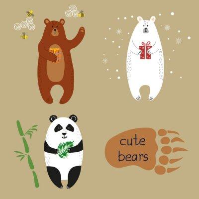 Carta da parati orsi sveglie impostate. Raccolta di illustrazioni vettoriali di cartone animato orso bruno, orso polare e panda.