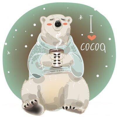Carta da parati orso bianco del fumetto con tazza di bevanda calda