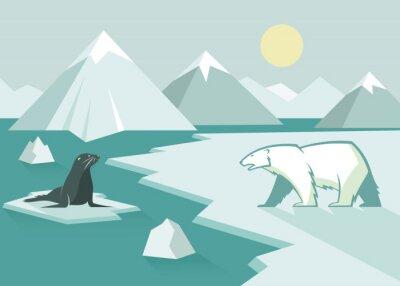 Carta da parati Orso polare e la guarnizione - design piatto