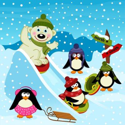 Carta da parati orso polare e pinguino su uno scivolo di ghiaccio - illustrazione vettoriale, eps