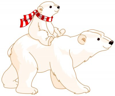 Carta da parati Orso polare Mamma e bambino